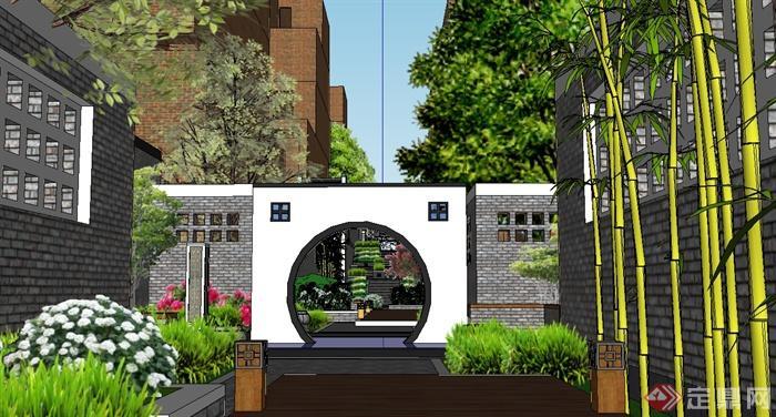 某现代中式风格住宅小区巷子景观设计su模型[原创]