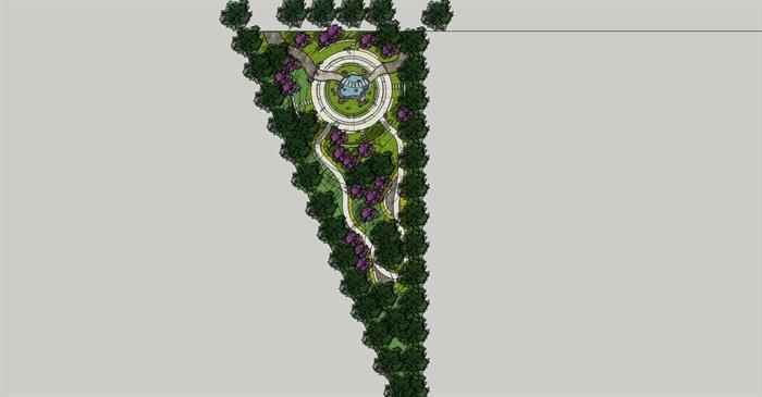 某三角公园景观设计su模型[原创]