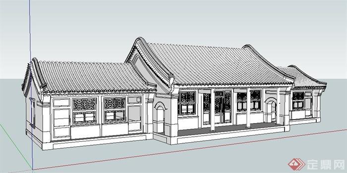 中式四合院正房建筑设计su模型[原创]