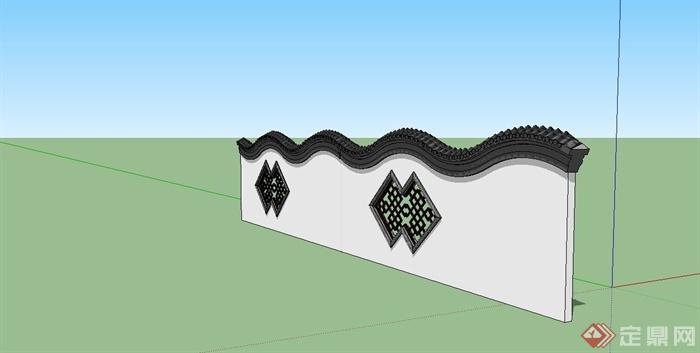 某现代中式风格镂空围墙设计su模型[原创]
