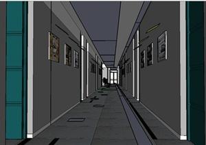 某现代风格建筑学院教学楼走廊设计SU(草图大师)模型