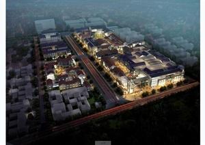 某现代中式风格商业街建筑设计SU(草图大师)模型含3DMAX和CAD施工图以及JPG效果图