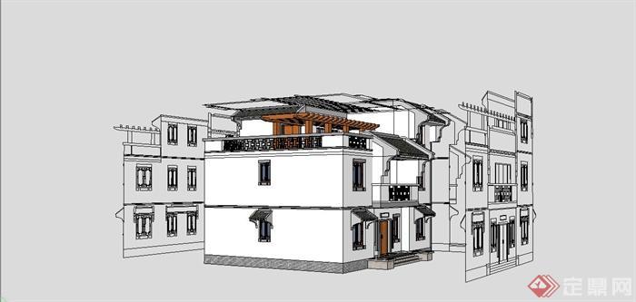 某现代中式风格独栋小别墅建筑设计su别墅[原创]模型荣源熙鸿园龙华图片