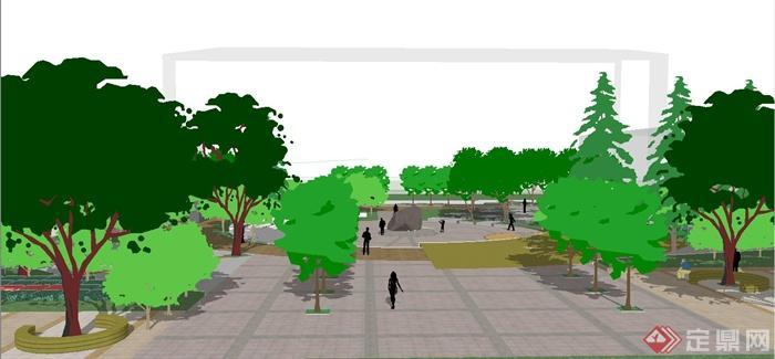 某现代风格圆形广场景观规划设计su模型[原创]