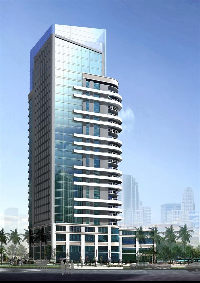 某现代风格高层综合楼建筑设计cad施工图含jpg效果图