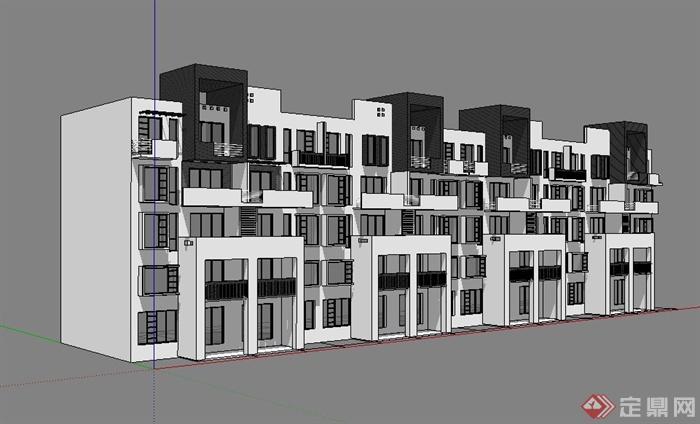 现代徽派5层住宅楼建筑正立面设计su模型[原创]