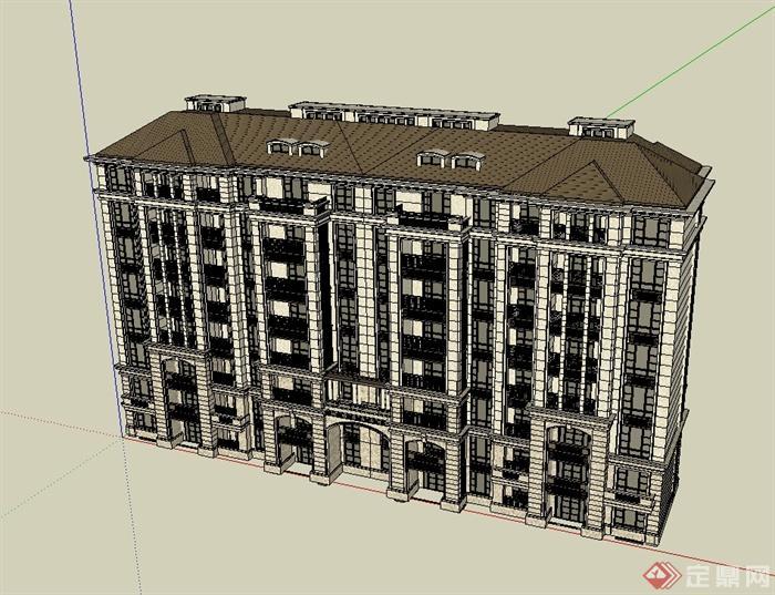 某欧式风格多层住宅建筑楼设计su模型[原创]