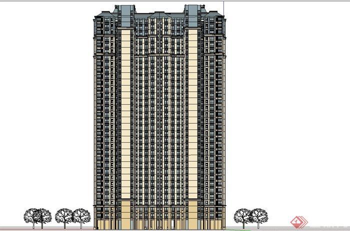 某精致欧式风格高层住宅建筑设计su模型[原创]