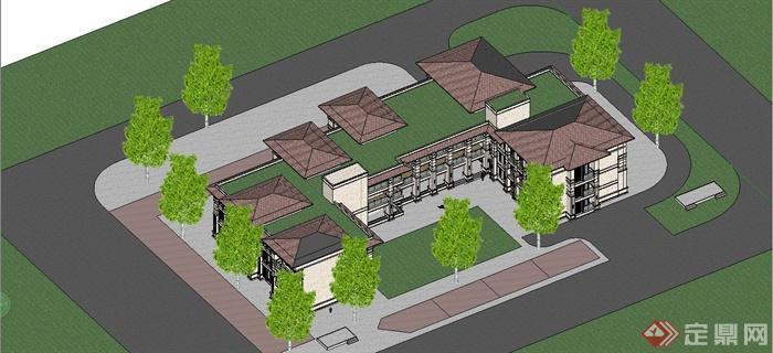 某精致欧式风格幼儿园教学建筑设计su模型[原创]