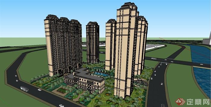 某歐式風格精致高層住宅小區建筑設計su模型[原創]