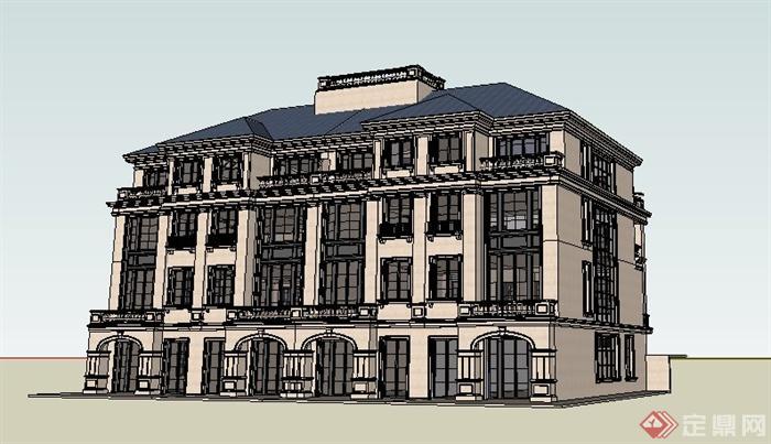 欧式风格精品办公楼建筑设计su模型[原创]