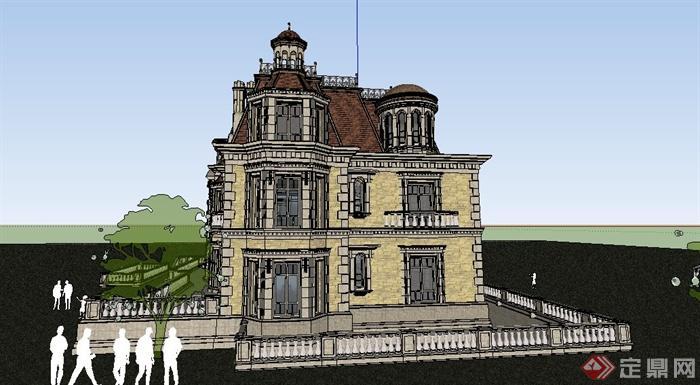 古典欧式精品别墅住宅建筑设计su模型[原创]