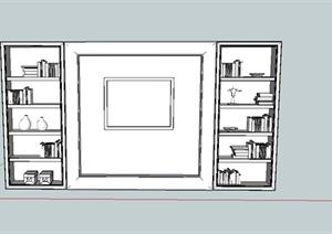 现代简易书柜设计SU(草图大师)模型