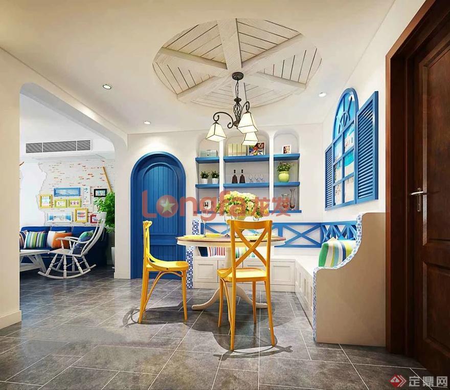 客餐厅 地中海风格 装修效果图
