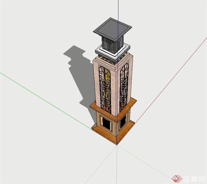 某欧式风格详细精致景观灯柱设计su模型[原创]