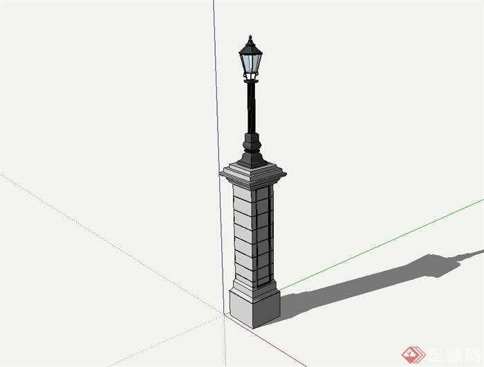 某欧式风格精致景观灯柱设计su模型[原创]