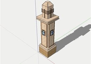 某新古典风格景观灯柱设计SU(草图大师)模型