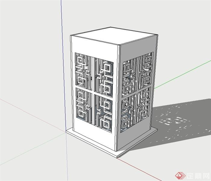 古典中式风格草坪灯柱设计su模型(1)