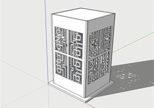 古典中式风格草坪灯柱设计su模型