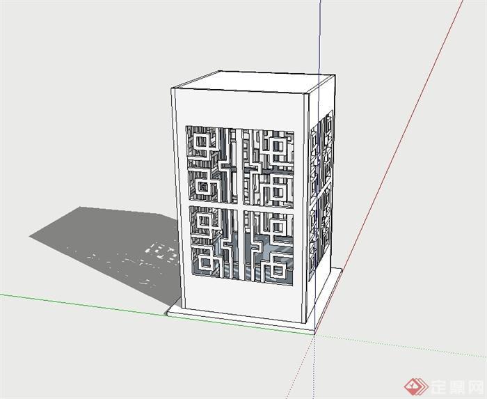 古典中式风格草坪灯柱设计su模型(2)
