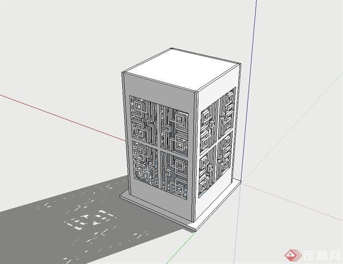 古典中式风格草坪灯柱设计su模型(3)