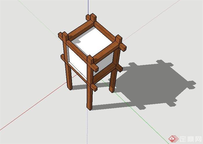 木质室外景观灯设计SU模型