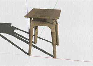中式藤编坐凳设计SU(草图大师)模型