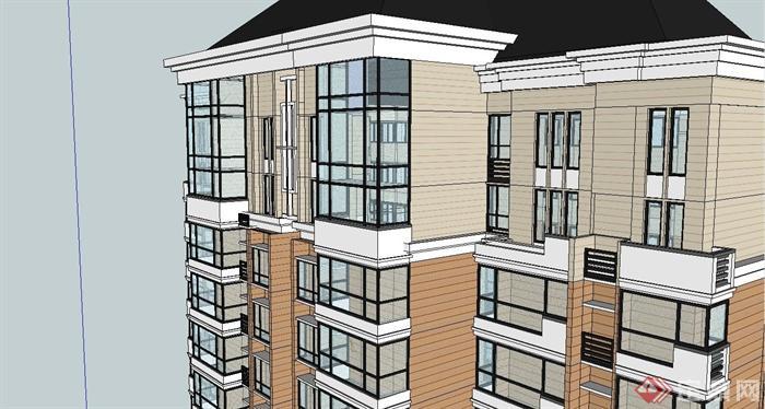 歐式風格高層住宅小區建筑設計su模型[原創]