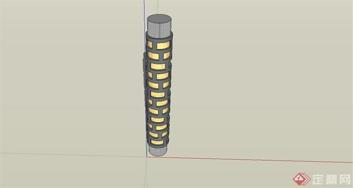 现代风格圆柱室外景观灯设计su模型[原创]