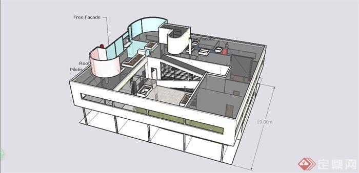 精致萨伏伊模型建筑设计SU别墅[原创][Exquis别墅物业费无锡图片