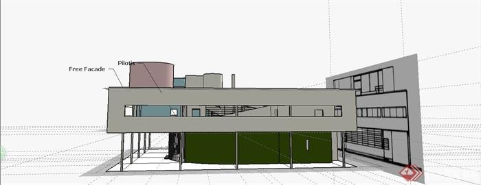精致萨伏伊别墅建筑设计SU模型[原创]别墅太阳岛哈尔滨图片