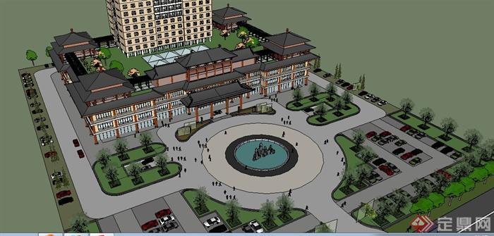 汉唐高层酒店模型建筑设计su风格精品[原创]设计费厦门图片