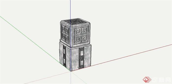 现代中式风格景观石柱设计su模型[原创]