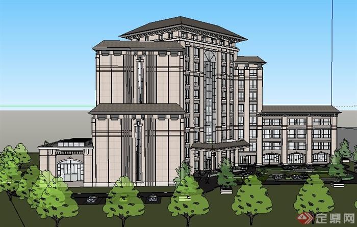 簡約中式小高層酒店建筑設計su模型[原創]