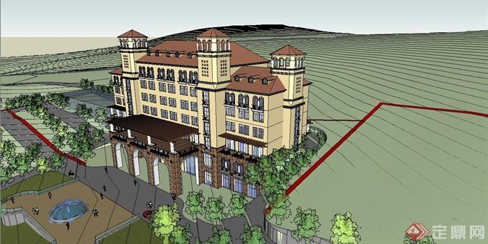 某地中海风格精致酒店建筑设计SU模型图片