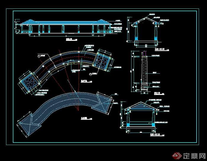 某欧式风格游泳池定位铺装剖面图,浪泳池平剖大样,连廊平立剖面设计