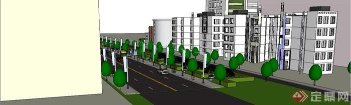 某現代風格道路街道景觀設計su模型[原創]