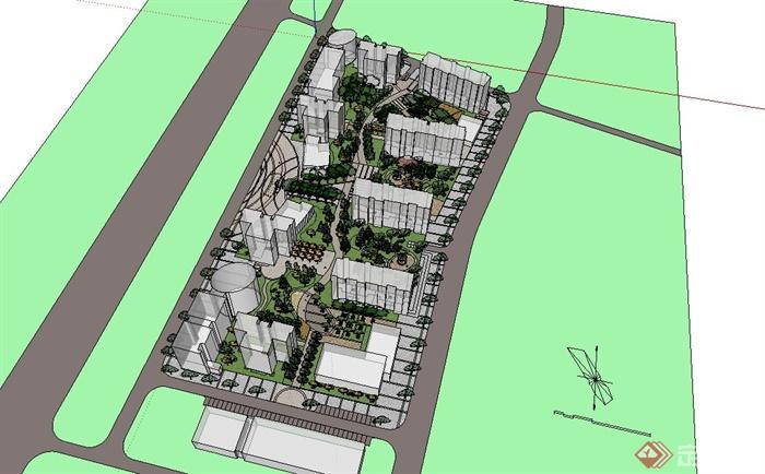 某欧式风格住宅小区绿化景观设计SU模型