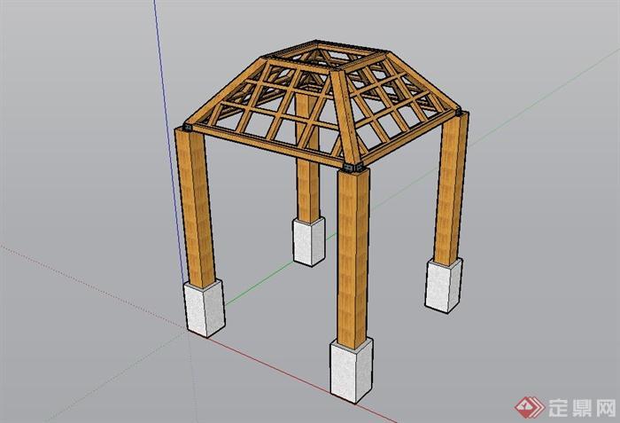 简约欧式亭子结构设计su模型[原创]