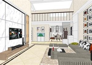 现代风格复式住宅家装设计SU(草图大师)模型-室内设计完整项目设