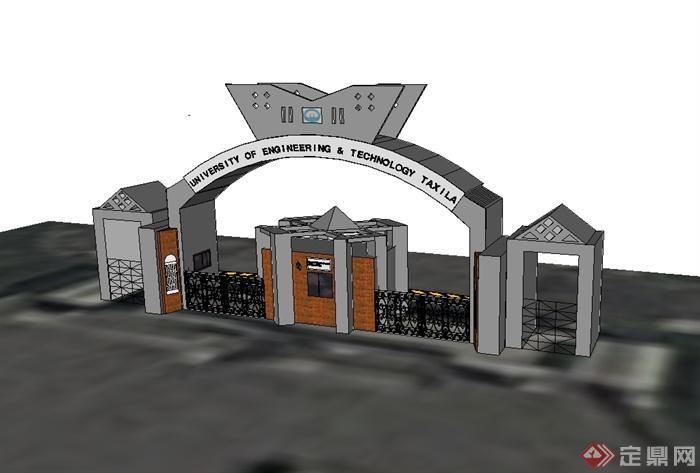 现代风格独特学校大门入口设计su模型[原创]