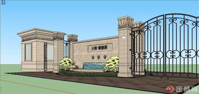 某简约欧式风格住宅小区大门入口设计su模型[原创]