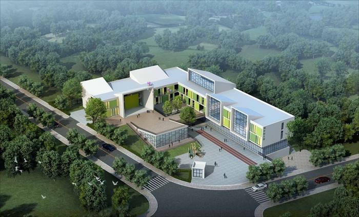 现代风格幼儿园建筑设计方案(含cad平面,立面,总平面图,效果图)[原创]