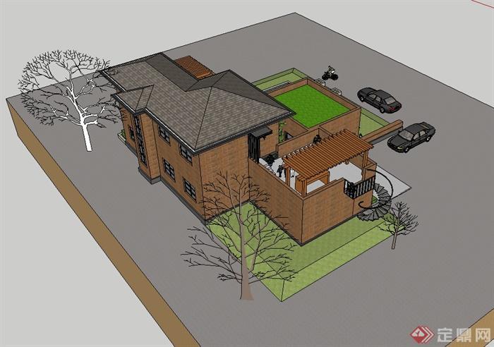 现代坡屋顶别墅建筑楼设计su模型