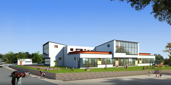 某现代风格幼儿园建筑设计设计cad方案及效果图[原创]
