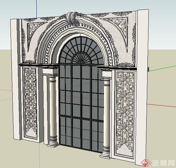 欧式拱形门设计su模型(2)