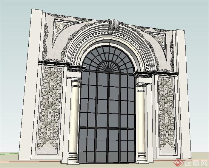 欧式拱形门设计su模型(1)