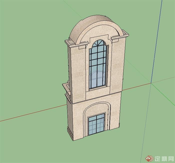 某欧式风格建筑构件门头设计su模型[原创]