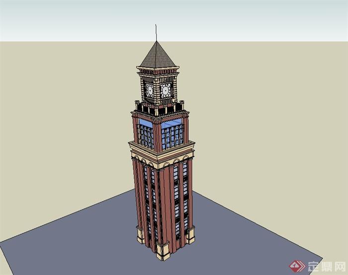 某欧式风格精致详细钟塔设计su模型[原创]
