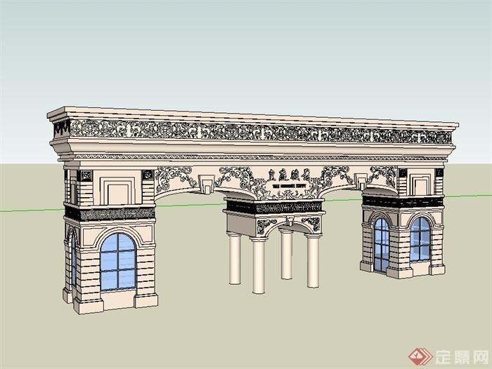 欧式风格详细小区大门设计su模型[原创]